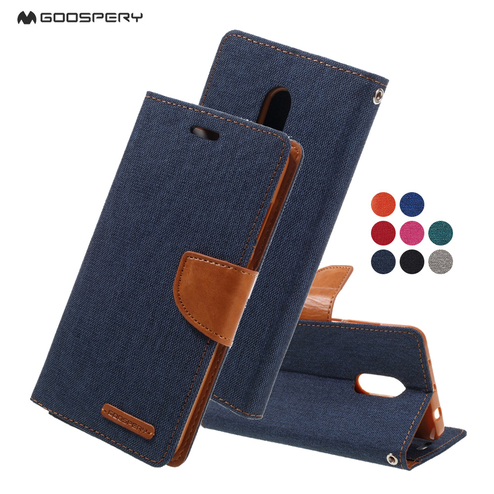 Original Goospery For Xiaomi Mi 4i 4 Case Canvas Diary Leather Samsung Galaxy Core 2 Blue Wallet Flip Stand Cover Hongmi Redmi Note 3 In Cases From Cellphones