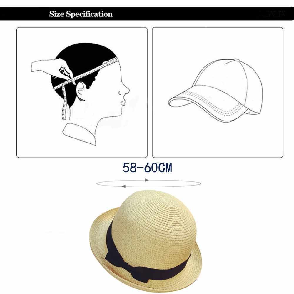 2019 新着太陽の帽子カジュアル夏の子供のビーチ原宿キャップかわいい弓ハンドメイド女性わら帽子ビッグつばキャップ