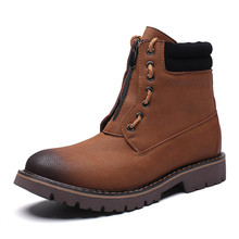 2018 Genuine Leather Spring And Autumn Men Solid Color Ankle Boots Martin Outdoor Working Mens Shoes Big Size Lx5