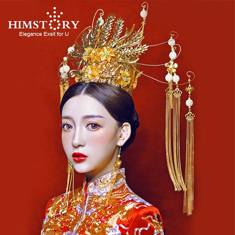 HIMSTORY Gorgeous Chinese Traditional Princess Phoenix Coronet Long Tassel Gold Hairwear Headdress Wedding Hair Accessory smc pneumatic blue air hose tu1208bu 100 inside diameter 8mm external diameter 12mm hose length 100m