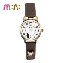 MINI Kids Watch Children Watch Fashion Cute Simple Girls Waterproof Korea Rabbit Cat Dancer Leather clock