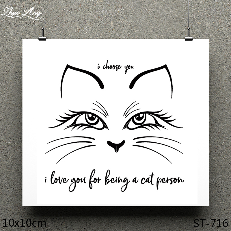 ZhuoAng Meek Cat Design Clear Stamp / Scrapbook Rubber Craft Card Seamless