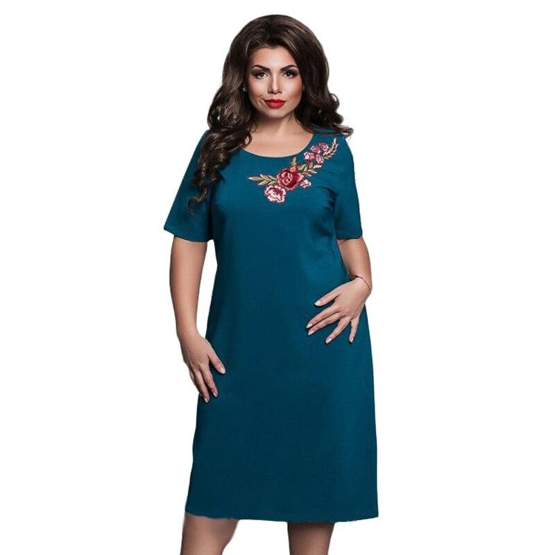 WJ 2018 летние женские элегантные офисные вечерние платья больших размеров, вышитое платье с цветочным принтом, большие размеры 4XL-6XL