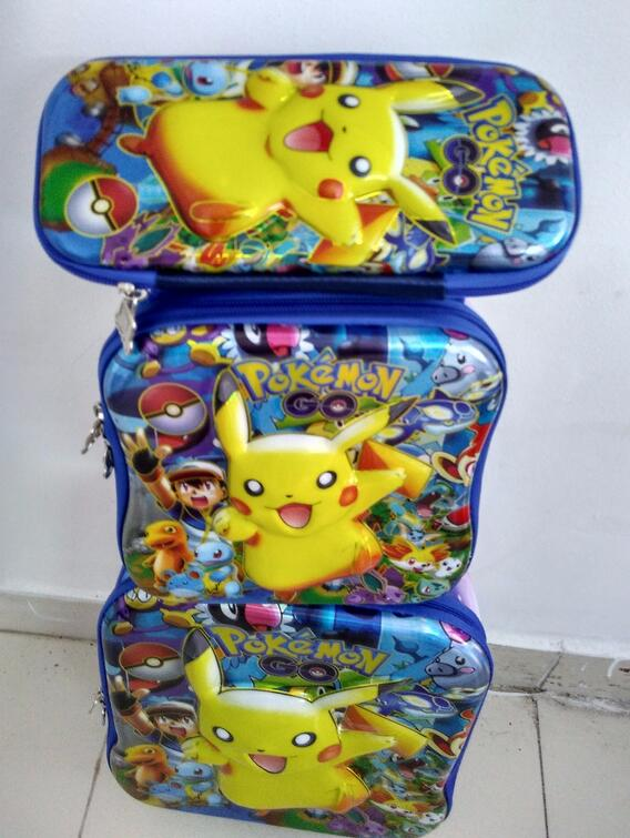 New 16 inch Pokemon trolley luggage travel suitcase sets (lunch box + pen boxes+trolley luggage ) kids luggage aosbos fashion portable insulated canvas lunch bag thermal food picnic lunch bags for women kids men cooler lunch box bag tote
