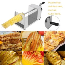 Manual Stainless Steel Twisted Spiral Potato Slicer French Fry Tornado Potato Tower Fruit & Vegetable cutter Kitchen Tool(China)