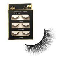 3 Pairs/set Natural Handmade Pure Soft Mink Cross Thick False Eyelashes Extension Black Eye Lashes Makeup Tools False Eyelashes