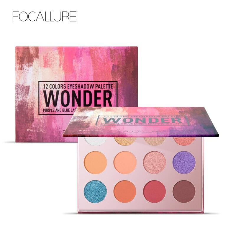 FOCALLURE 12 Cores Da Sombra Matte Shimmer Glitter fácil de Usar Sombra de Olho Paleta de Maquiagem Profissional Completa Make Up