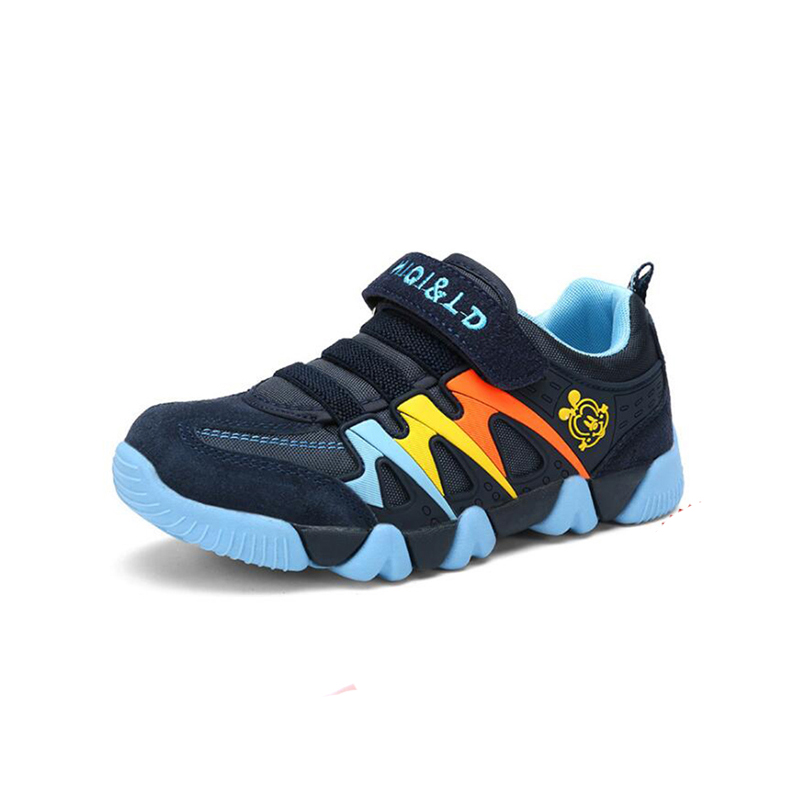 New Genuine Leather Children Shoes Wearable Breathable Boys Sneakers Girls Stripes Sports Shoes Size 22 To Size 39