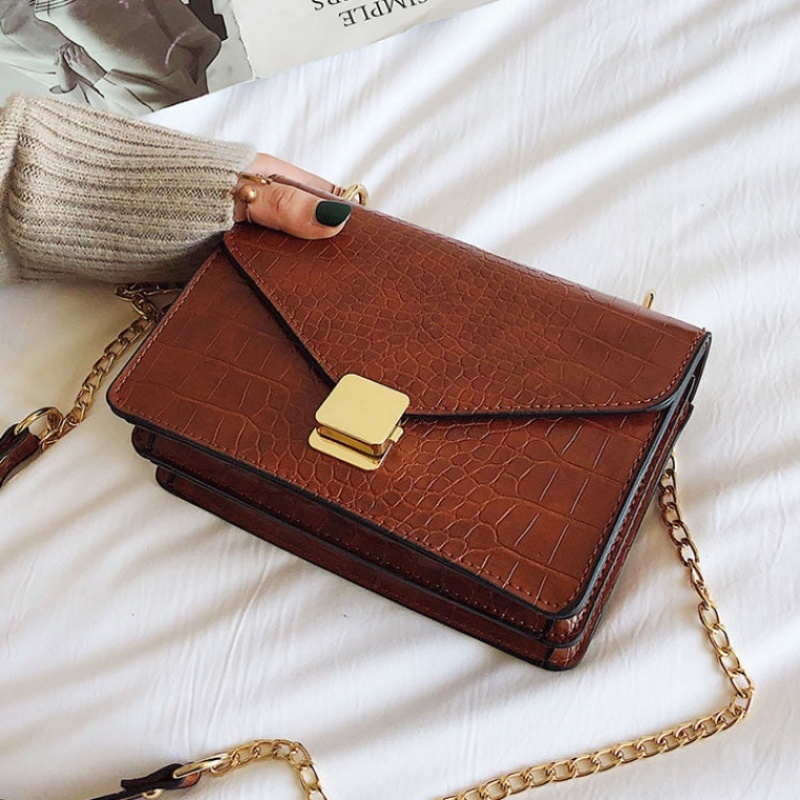 Crocodile Pattern Crossbody Bags For Women 2020 Small Chain Handbag Small Bag PU Leather Hand Bag Ladies Designer Shoulder Bags