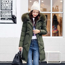 Women jackets 2017 Fur Hooded Jacket for women Padded Cotton Down Winter Coat women Long Parka Womens Coats Clothing Plus size