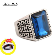 Ataullah Hip-hop Rock Shield Ring Stainless Steel Inlaid with Crystal Rings Personality Jewelry for Man Birthday Gift RW046(China)
