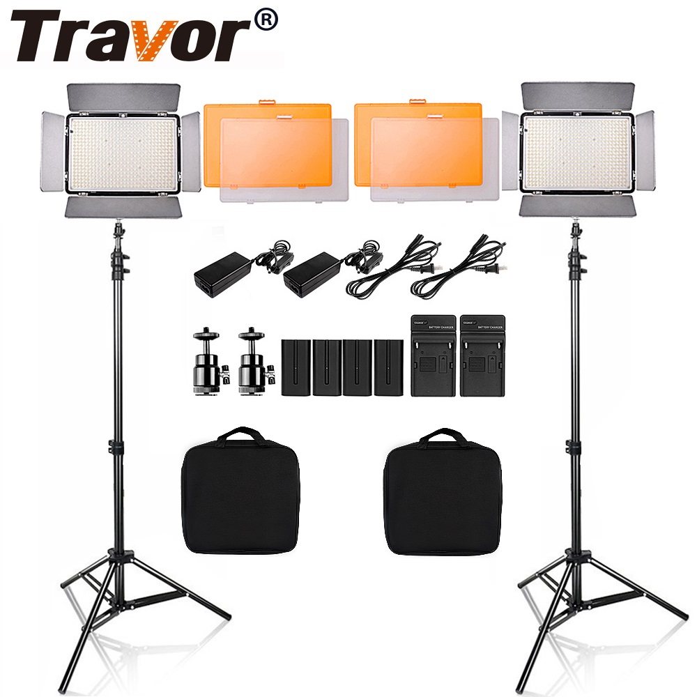 Travor 2 In 1 LED Video Light Dimmable Bi-color LED Panel 600 PCS Camcorder Video Light Photography Light With Tripod/Battery travor 2 in 1 photography 160 led studio lighting kit dimmable ultra high power panel digital camera dslr camcorder led light