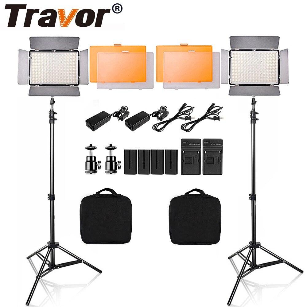 Travor TL-600 2 Kit Video Light Com Tripé 5600 K Regulável Lâmpada de Estúdio Fotografia LEVOU Iluminação para Casamento Notícias entrevista