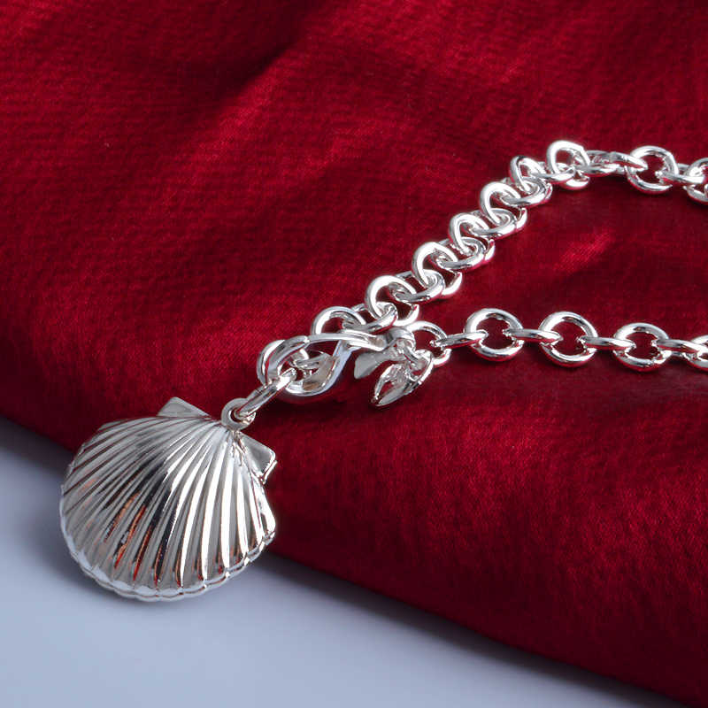 Charms Fashion Factory Price 925 Sterling Silver Chunky Chain Bracelet Conch Shape Photo Locket Bracelets Elegant Fine Jewelry