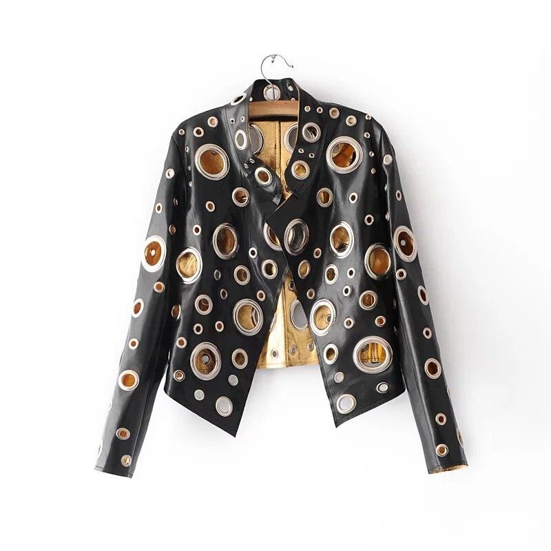 2018 осень Для женщин отверстие куртка из искусственной кожи кольца заклепки Мотоцикл Велосипед veste femme Куртка Верхняя одежда Пальто z97