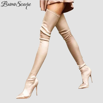 BuonoScarpe Women Slip On Stiletto High Heel Socks Boots Stretch Elastic Thigh High Boots Pointed Toe Sexy Over The Knee Boots jeans denim gladiator fringe blue over the knee high thigh high autumn boots sexy open toe chunky heel women boots