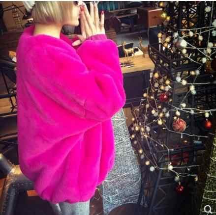 Yeni Bayan Taklit Sahte Kürk Ceketler V Boyun Sonbahar Ve Kış Taklit Kürk Ceketler Kadın Sahte Kürk Giyim Tops S /2XL J2511