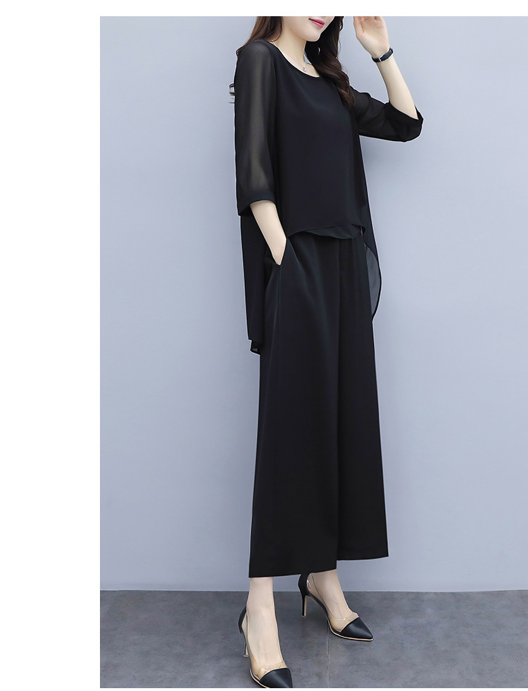 HTB1ZZg0a81D3KVjSZFyq6zuFpXaa - S-3xl Summer Chiffon 2 Two Piece Sets Outfits Women Plus Size Asymmetrical Blouses And Wide Leg Pants Suits Elegant Korean Sets