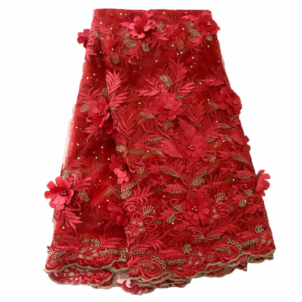 Ourwin 2018 francuski koronki tkaniny czerwony ślubne wysokiej jakości afryki tiul koronki tkaniny 5 stoczni 3D kwiaty haftowany tiul koronka tkaniny w Koronka od Dom i ogród na  Grupa 1