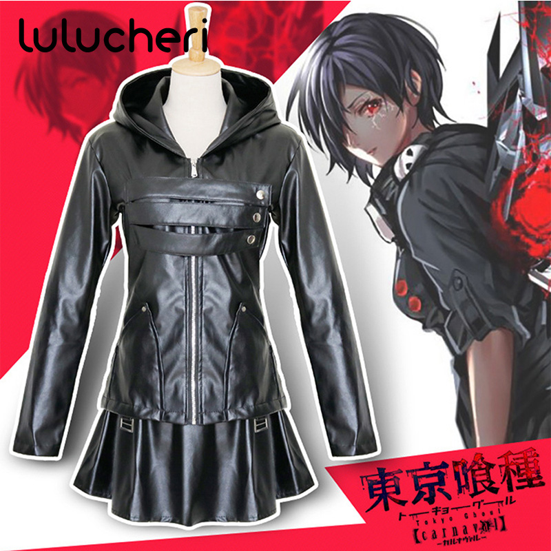 Anime Tokyo Ghoul Kirishima Touka Cosplay Costume Black Uniform for Women Girls Battle Suits Halloween Carnival Party Full Set