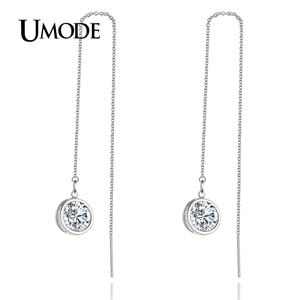UMODE Fashion Elegant Long Drop Earring for Women White Gold Color Zirconia Long Earrings Jewelry Boucle d'oreille Gifts AUE0205