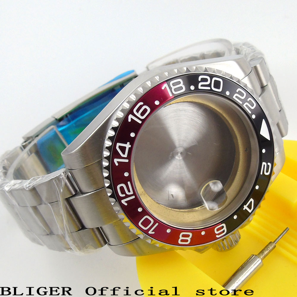 43MM Sapphire Glass Black Red Bezel Stainless Steel Watch Case Date Magnifier Fit ETA 2824 2836 Movement+Watch Bracelet C57 цена и фото