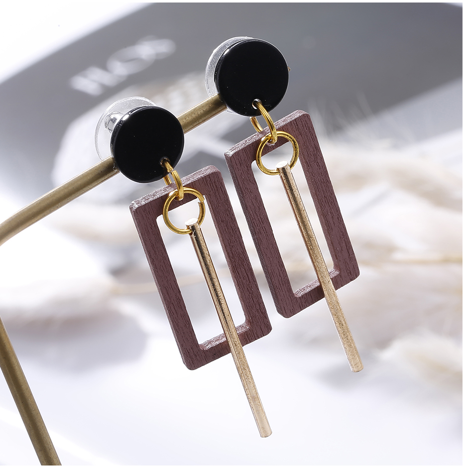 geekoplanet.com - Natural Geometric Wood Drop Earrings