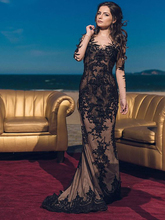smileven Black Lace Mermaid Wedding Dress Long Sleeves Bridal Vestidos de novia 2019 Appliques  Sexy Gowns