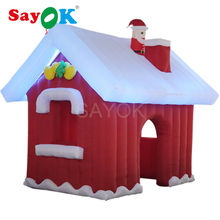 цены Sayok 3m Inflatable Christmas Santa Claus House with LED lights and air blower for yard home Christmas decoration
