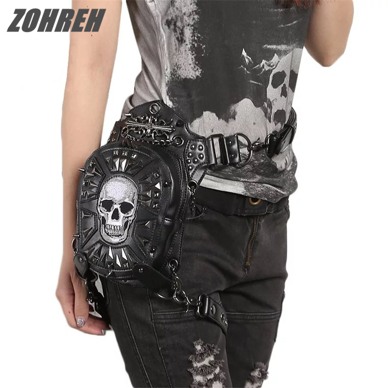 2018 Hot Sale PU Leather Rivet Skull Punk Waist Bags Retro Rock Gothic Shoulder Bags Waist Fanny Pack Messenger Holster Leg Bags gothic skull cross rivet cow leather double fold wallet brown