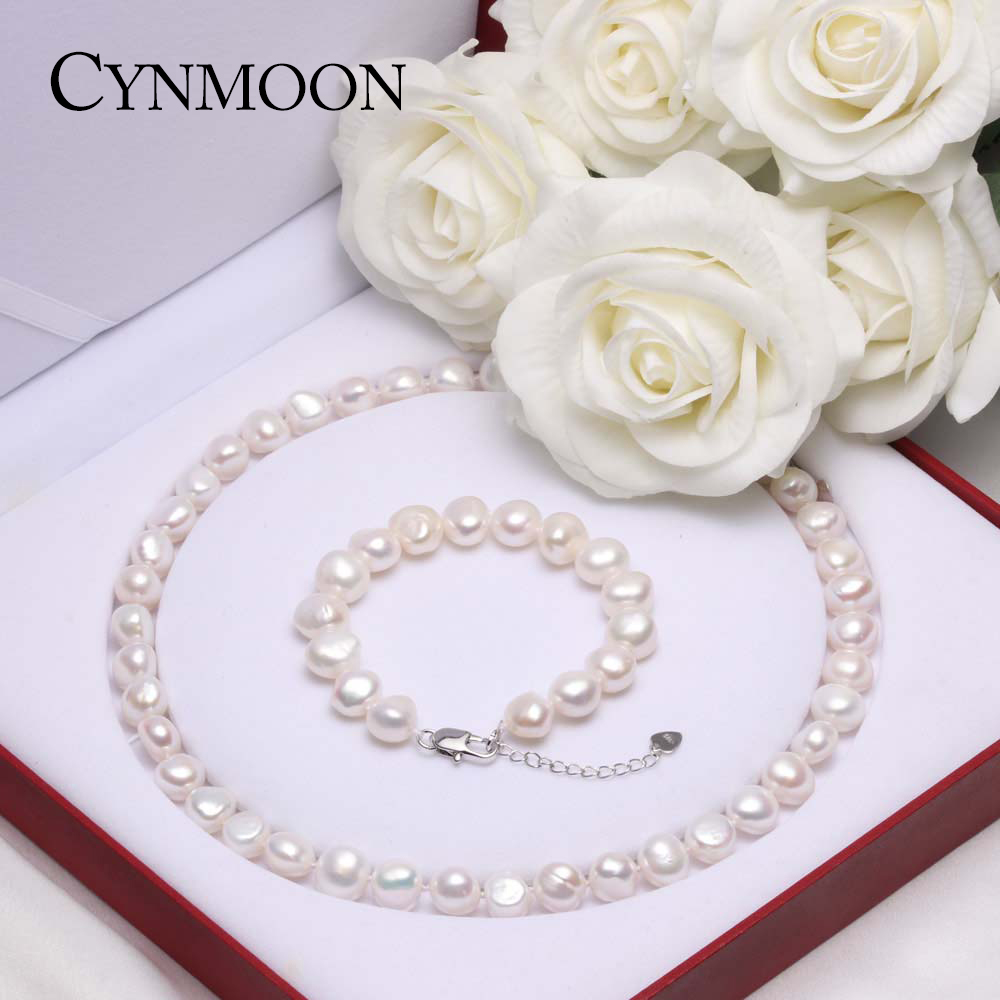 Natural Freshwater Baroque Pearl Jewelry Sets AAAA Quality Pearl Necklace Bracelet Jewelry for Women Mother