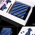 Novo modelo de chegada 6 pçs/set 100% gravatas De Seda dos homens Gravatas moda Gravata set Manta Listra Mans Amarrar Gravatas com caixa de presente