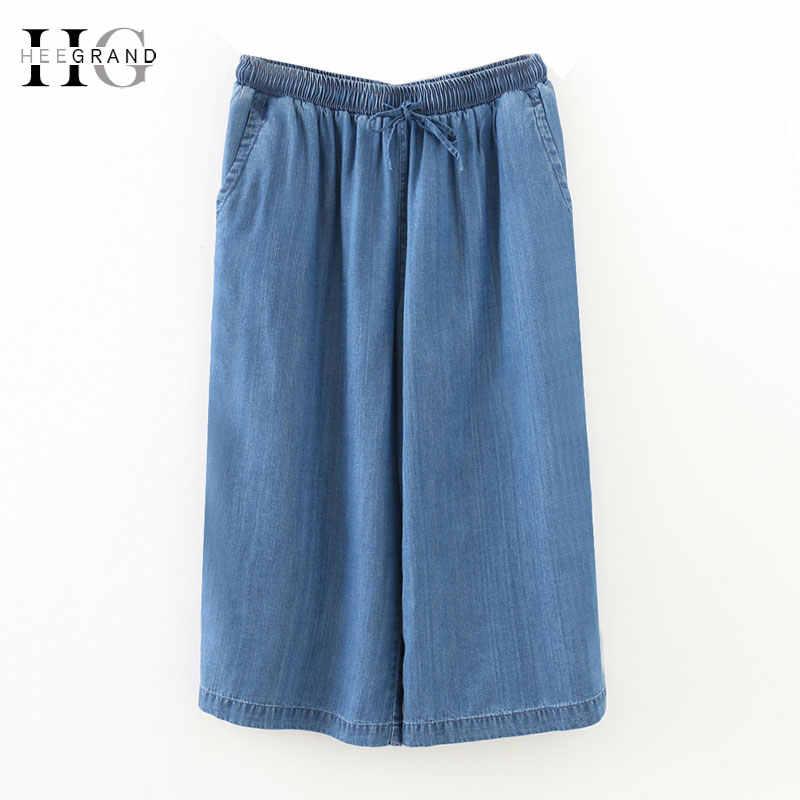 HEE GRAND 2018 плюс размер 4XL женские джинсы с эластичной резинкой на талии до середины икры широкие брюки выше размера свободные потертые джинсовые брюки WKD571
