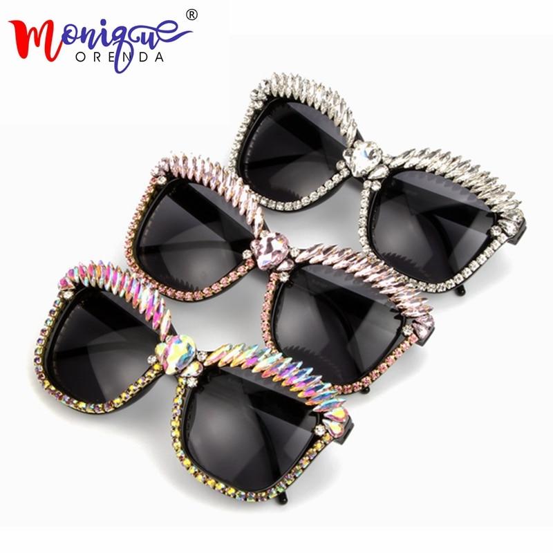 MONIQUE Cat Eye Sunglasses Donne Del Progettista di Marca di Lusso di Cristallo Sexy Occhiali Da Sole Strass Fashion Shades Oculos De Sol Feminino