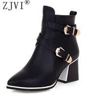 PU Leather Black Brown Blue Women Square Heel Ankle Riding Boots 2014 Winter Fashion Pointed Toe