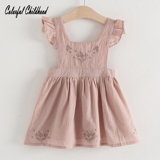 1cf92b8cd80f Little Girls Dress Baby girls Ruffles Vest Dresses Toddler kids ...