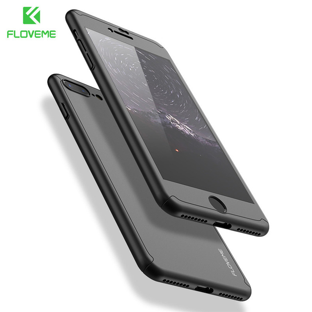 FLOVEME Phone Case For iPhone 7 6 6S 360 Degree Full Coverage for iPhone 7 6 6S Plus C Protective Cover Coque Tempered Glass