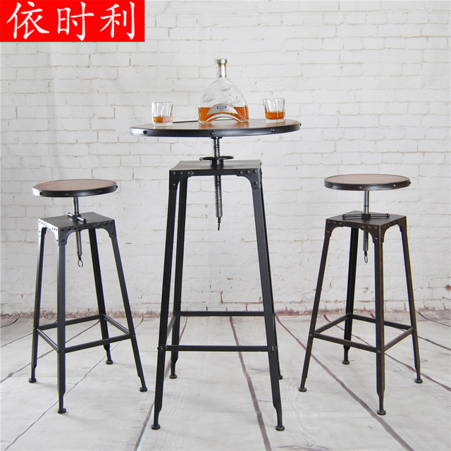 Custom Bar Stools Residential Furniture American Retro Bar Chairs Wood Bar  Tables Round Table Lift Tables