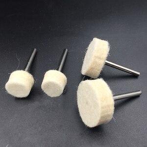 Image 2 - Caldo! 100Pcs 13 millimetri di Lana di Feltro di Lucidatura di lucidatura Pad + 2 Shank Per Dremel Rettifica Ruota
