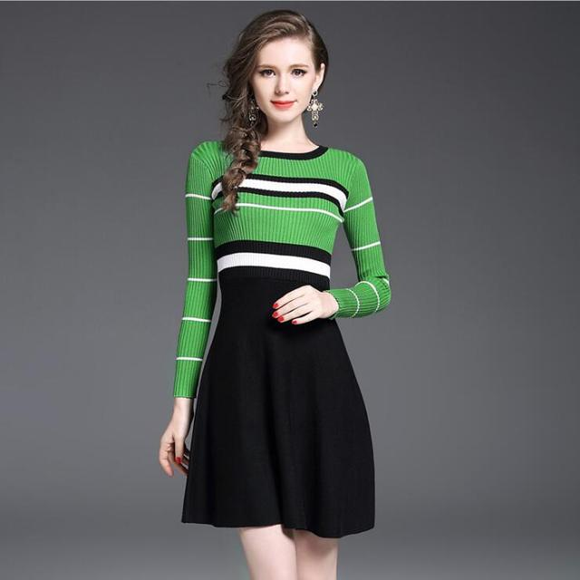 New Autumn Winter Women Striped Patchwork Knitted Sweater Dress Female Trend Clothing Ameircan Casual Work Office
