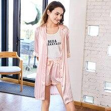 купить SSH0151 High Quality Brand Pajamas Half Sleeve Robe Vest and Shorts 3 Pieces Set 2018 Pyjama Satin Silk Striped Women Pajama Set по цене 1560.07 рублей