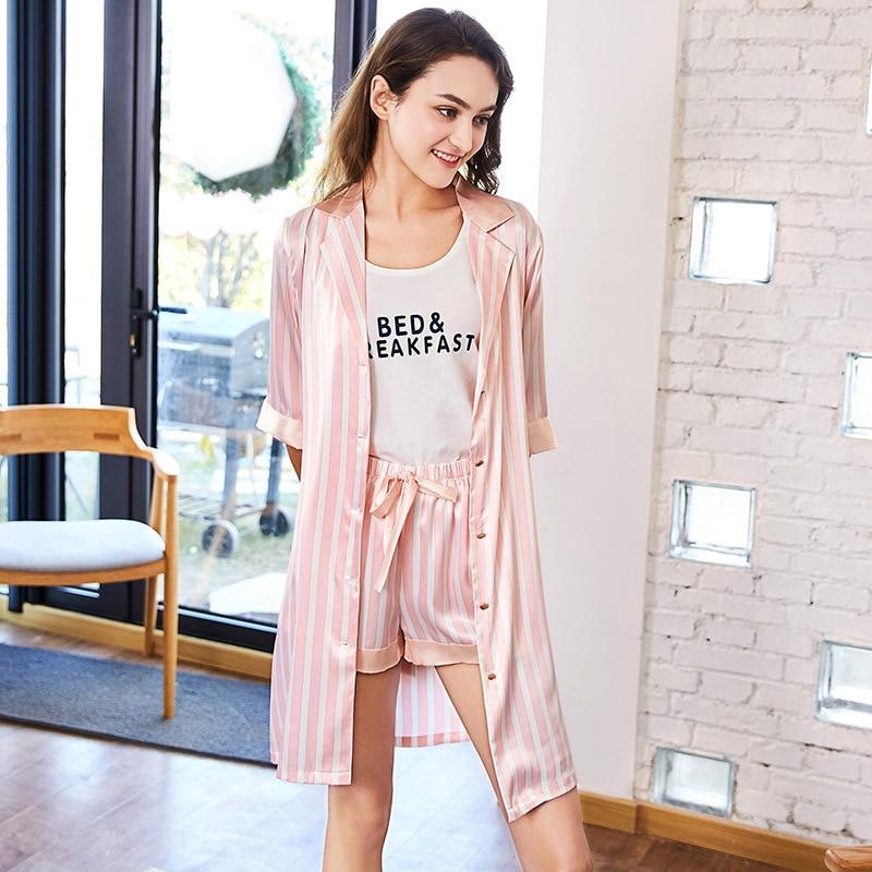 SSH0151 High Quality Brand   Pajamas   Half Sleeve Robe Vest and Shorts 3 Pieces   Set   2018 Pyjama Satin Silk Striped Women   Pajama     Set