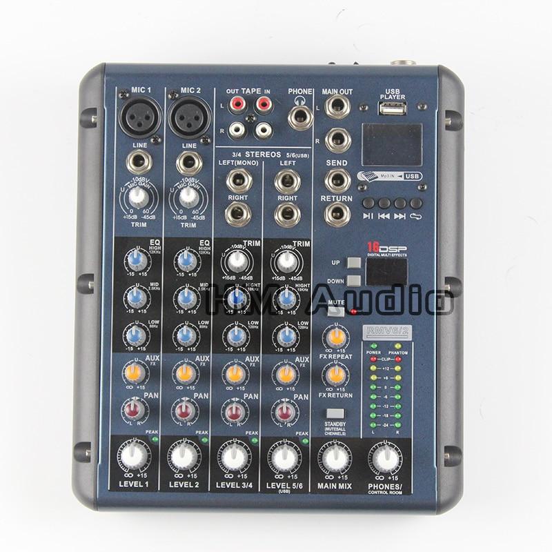 RMV6/2 2 Mono + 2 estéreo de 6 Canales 3 Bandas de ECUALIZACIÓN 1AUX Retorno 1 16 Efectos DSP USB Profesional para DJ Audio Mixer consola
