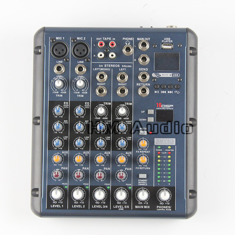 RMV6/2 2 Mono + 2 stereo 6 Channels 3 Band EQ 1AUX 1 Return 16 DSP Effect USB Professional DJ Audio Mixer Console