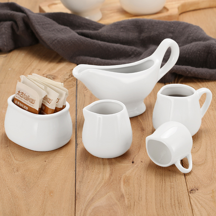 Sugar Creamer Milk Pots Pitcher Ceramics Seasoning Jar Creamer Container Cup Tableware White Kitchen Tools