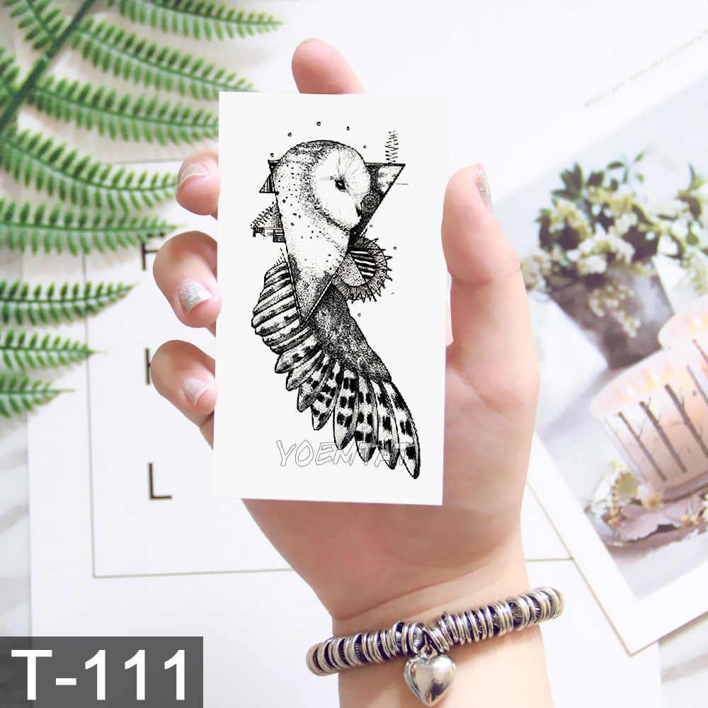 Pequeno preto tatuagem para homens mulheres corpo mãos dedo arte maquiagem festa aquarela tatuagem galáxia lobo baleia tatoo adesivos crianças