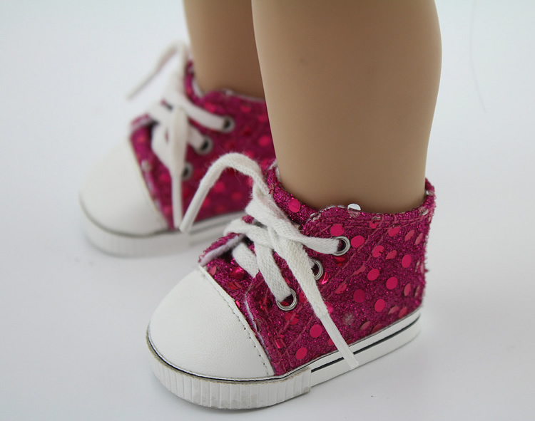 "Sequin Low Top Sneaker Canvas fit American Girl 18/"" doll shoes sneakers Hot Pink"