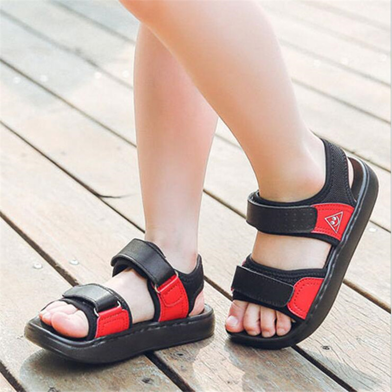 High-quality Childrens Shoes 2018 Summer New Boys Girls Genuine Leather Sandals Childrens Summer Comfortable Beach Shoes