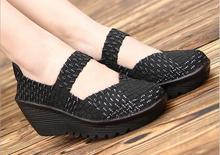 Été nouveau Respirant fitness minceur chaussures femmes bande Élastique tissé casual chaussures augmentation de la hauteur en plein air sport battantes chaussures