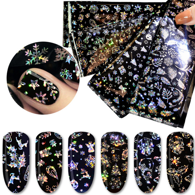 New Year Christmas Nail Transfer Foil Holographic Black White Snow